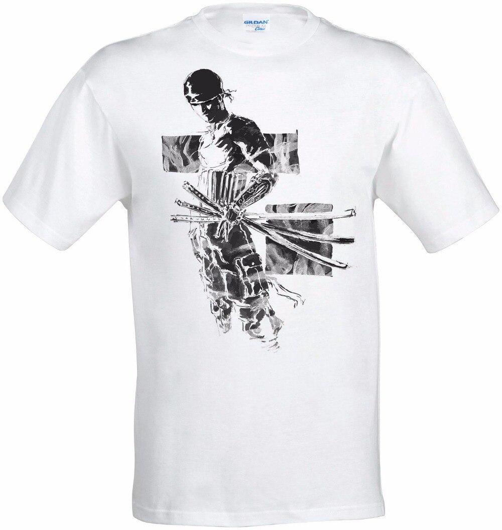 2018 Fashion Men 100% Cotton Men Women T Shirt Custom Roronoa Zoro Grey One Piece Art Anime Manga Men White make Tee Shirt