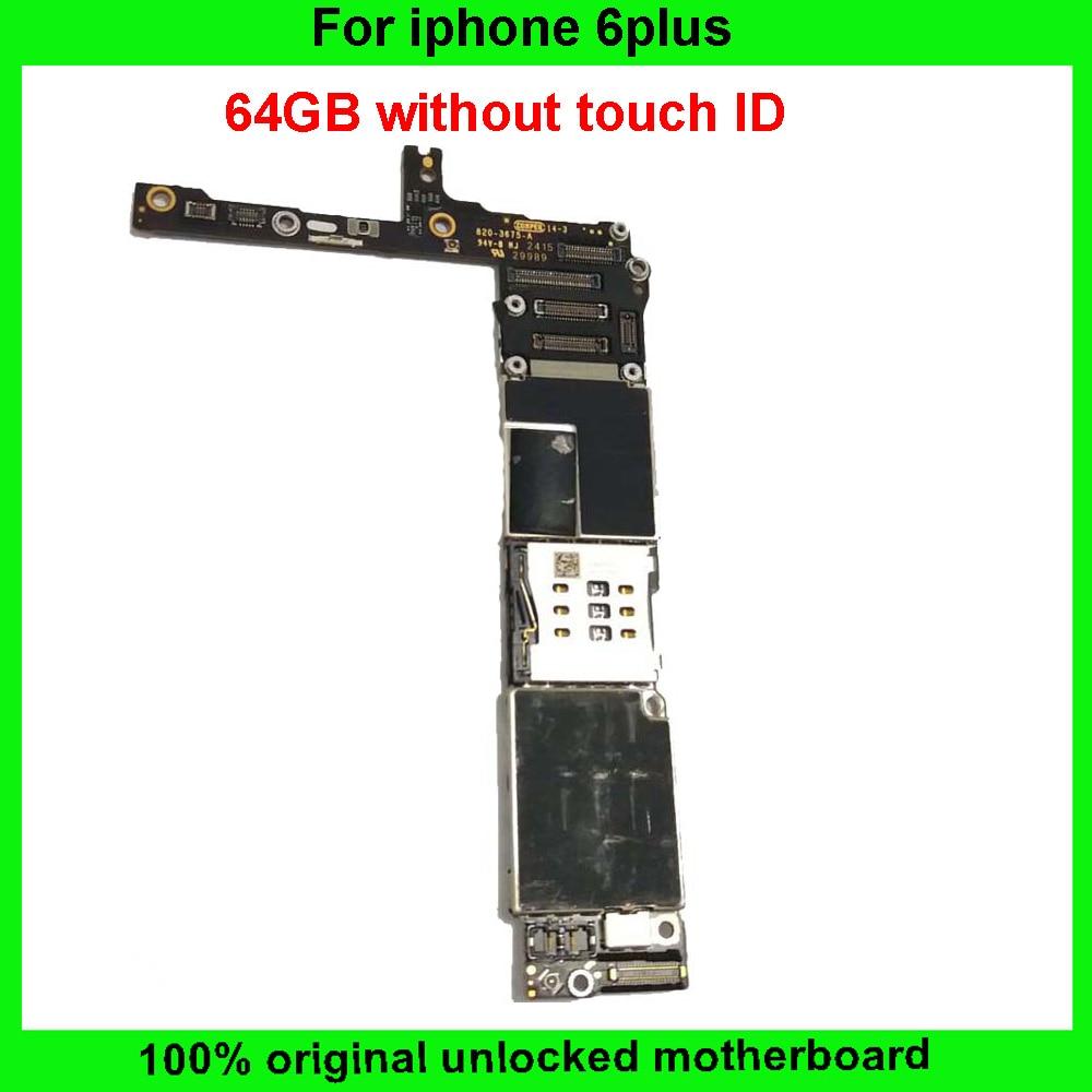 imágenes para Buen trabajo 64 gb placa base sin huellas dactilares para sistema ios iphone 6 plus madre original sin touch id placa lógica