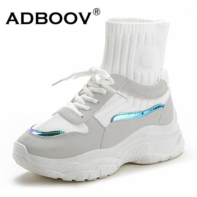 59eb96d5 ADBOOV Новый Мода высокие Для женщин кроссовки Осенняя обувь на платформе  женские удобные женские кроссовки носок