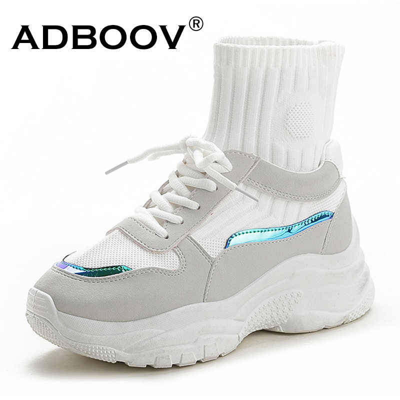a81e346f041 ADBOOV New Trendy High Top Women Sneakers Autumn Platform Shoes Woman  Comfortable ladies trainers Sock Shoes