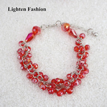Women Charm Pretty Red Glass Stones Beads Bracelets and Bangles Handmade Crystal Beaded Bracelets For Party Wedding Gift