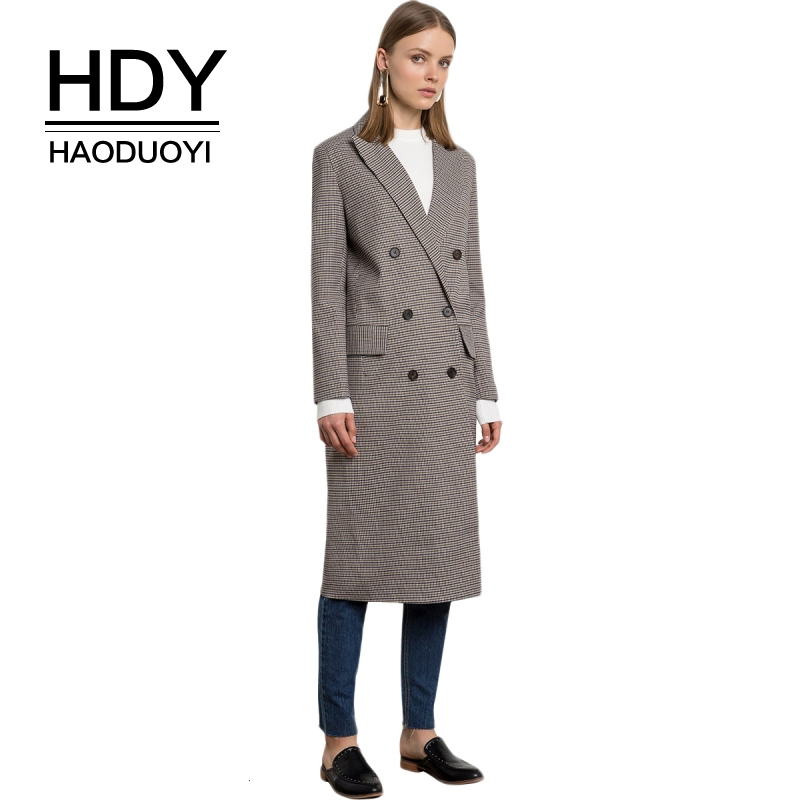 HDY Haoduoyi Brand Women Grey Plaid   Trench   Coats Double Breasted Wide-waisted Female Vitange Elegant Style Outwears Lady