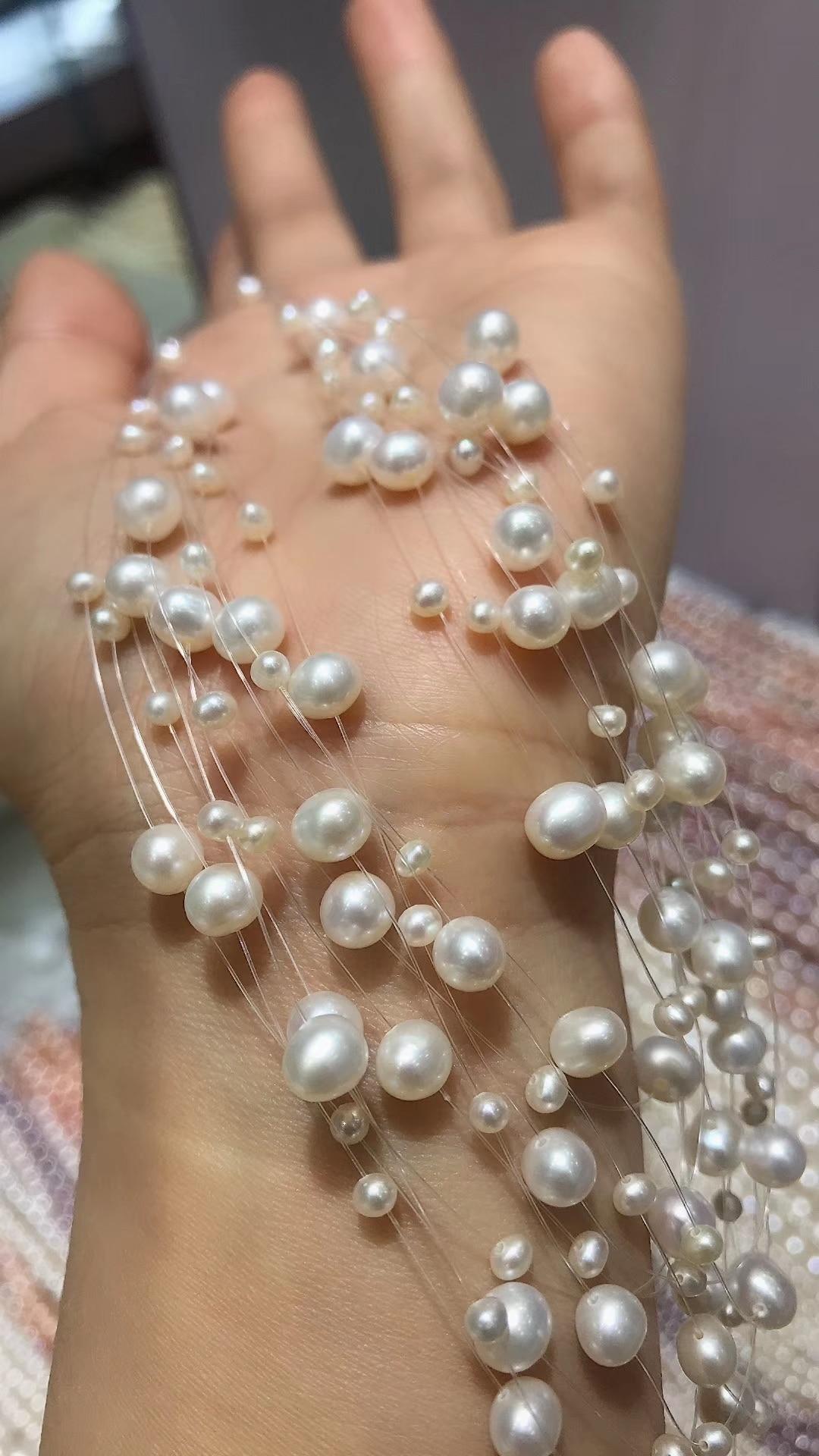 3-6mm naturel fait à la main de haute qualité multi-couche perle 525 argent collier en argent Sterling