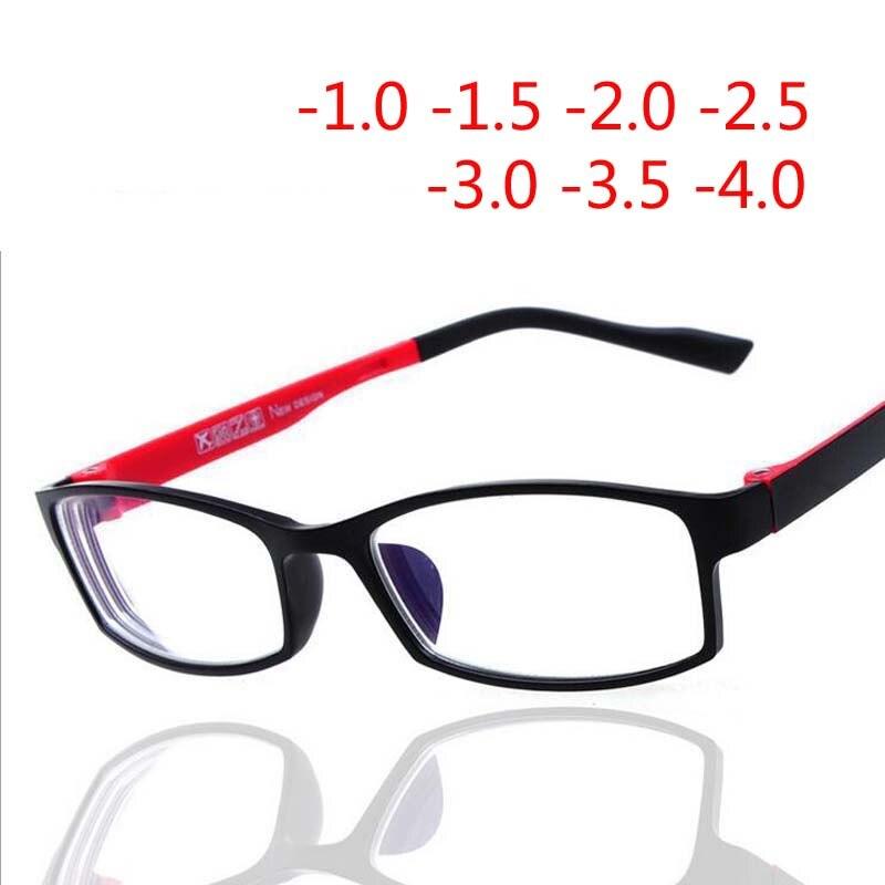 Fini myopie lunettes Myopes Miroir Rouge Ou Noir De Mode En Plastique Cadre Myopie Lentille Degrés-1-1.5-2 -2.5-3-3.5-4