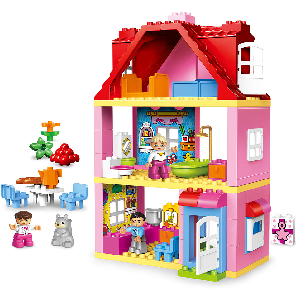 все цены на Duplos Friends Pink City Girl Princess Figure Family House Colourful Kids Building Block Educational Baby Toys Gift for 10505 онлайн