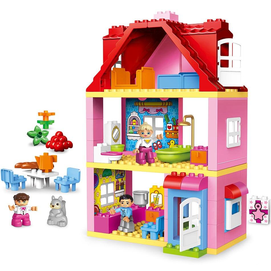 Duplos amigos Rosa ciudad chica princesa figura casa familiar colorido niños bloques de construcción juguetes educativos de bebé regalo para 10505