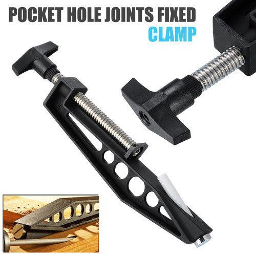 TPFOCUS Pocket Hole Joints Fixed Clamps Slant Hole Woodworking Clamp Drilling Jig(Black)