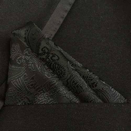 Lingyao New Stylish Pocket Square High Quality Woven Handkerchief Classic Black Paisley Handkerchiefs