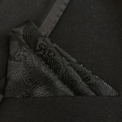 Lingyao New Stylish Pocket Square High Quality Woven Handkerchief Classic Black Paisley Handkerchiefs