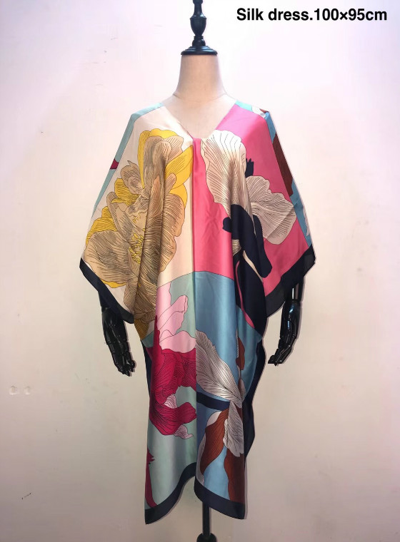 Size 100cm Width X 95 Cm Length Silk Kaftan Clothes Beautiful European Printed V-neck Short Dresses African Dresses For Women