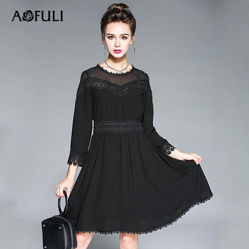 2017 Nouveau A Les La L 3xl Aofuli Automne Plus Taille Broderie Robes ligne 4xl Noir Voir À 5xl Femmes Travers Robe aw8qwzg