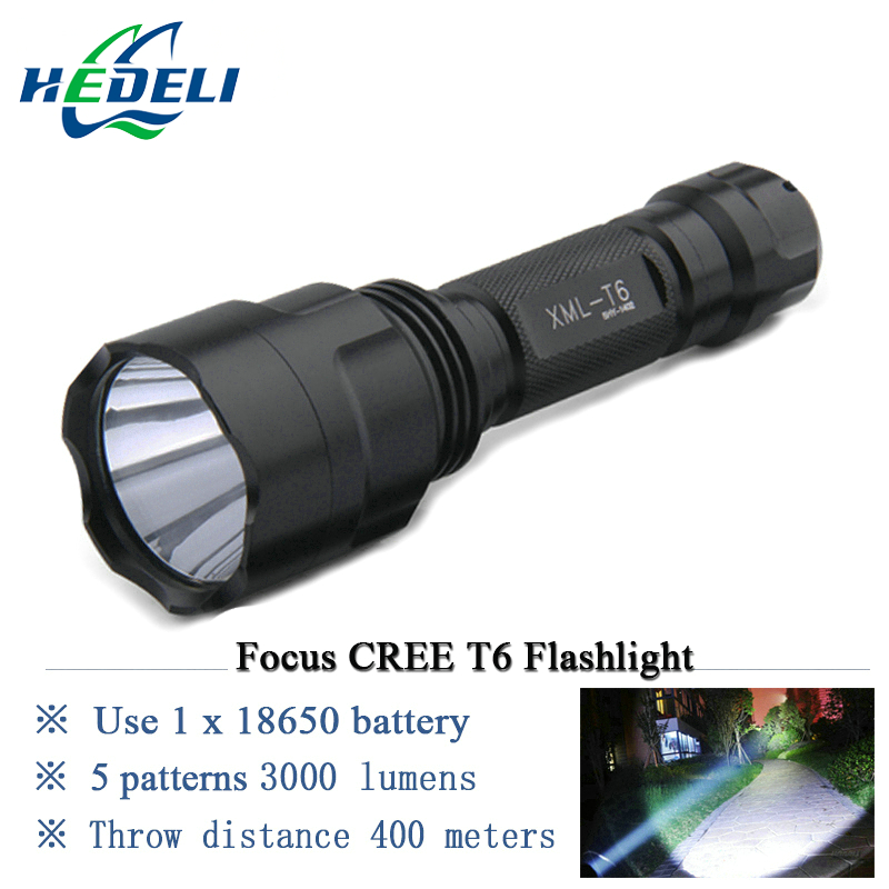 Focus Led Flashlight CREE XM-L T6 Torch linternas 3000 lumens Use 18650 rechargeable battery