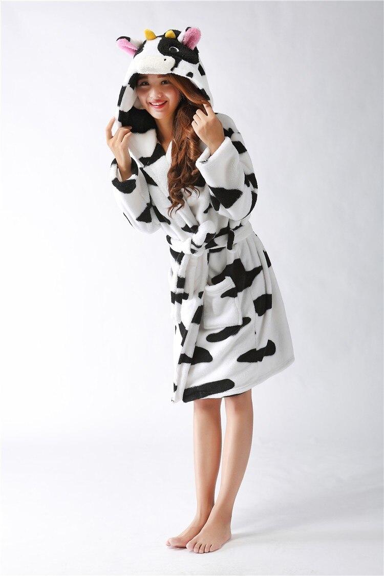 New plush robe Adult Animal cow Pajamas long sleeve lovely ...