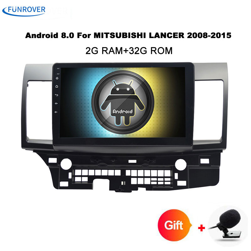 Funrover Android tape recorder font b Car b font DVD GPS for MITSUBISHI LANCER 2007 2016