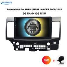 Funrover Android магнитофон автомобиля DVD gps для MITSUBISHI LANCER 2007-2016 головного устройства видео плеер Радио Видео Стерео 10,1 дюймов rds
