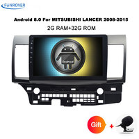 Funrover Android tape recorder Car DVD GPS for MITSUBISHI LANCER 2007 2016 headunit video player Radio video Stereo 10.1inch rds