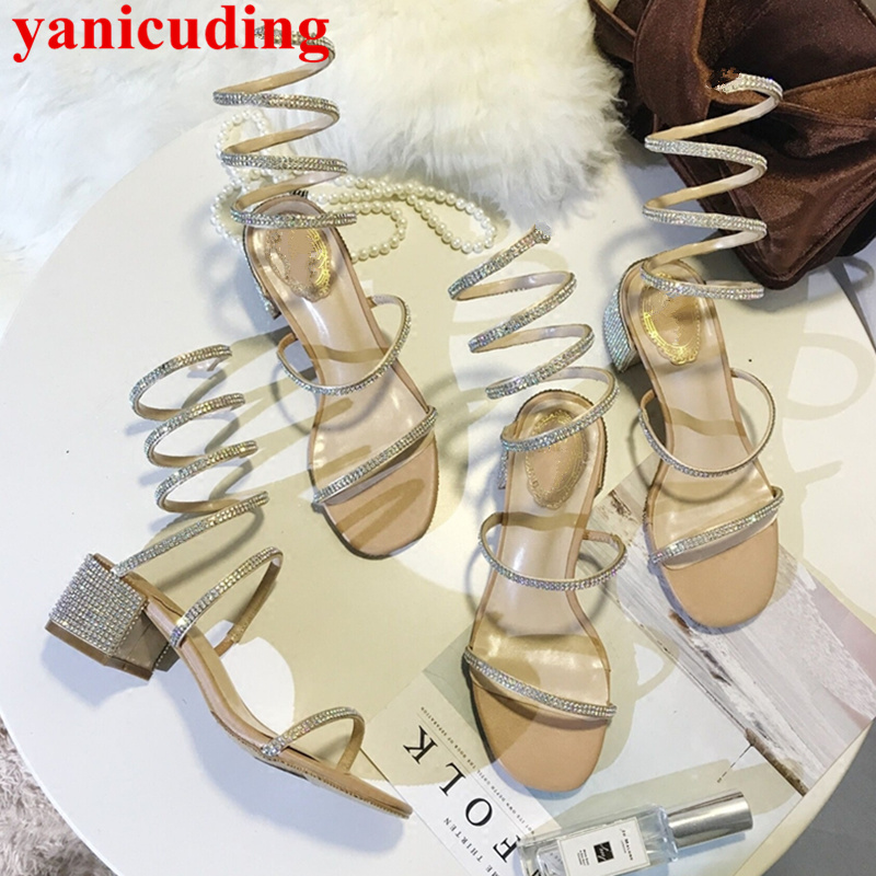 Open Toe Zapatos Mujer Glitter Women Sandals Crystal Embellished Gladiator Sapato Feminino Med Heel Brand Runway Summer Shoes pointed toe butterfly knot decor women pumps high heel sapato feminino chic brand runway star shoes bow tie women zapatos mujer
