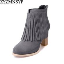ZYZMNSYP Femme nubuck de mode en cuir véritable cheville bottes femmes talons hauts bottes femmes automne hiver gland chaussures dames femme