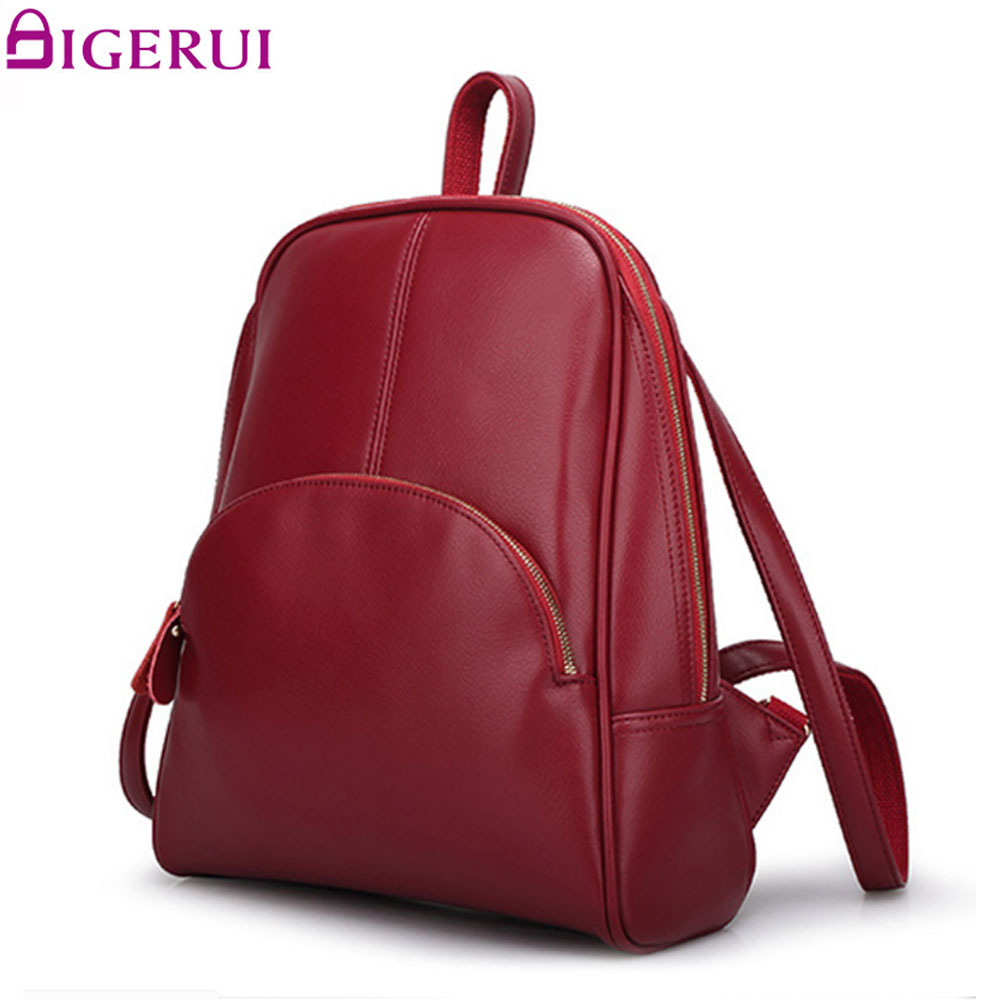 DIGERUI Fashion Backpack Women Backpack Leather School Bag Women Casual Style Preppy Style Women Backpack A1631 hot sale women s backpack the oil wax of cowhide leather backpack women casual gentlewoman small bags genuine leather school bag