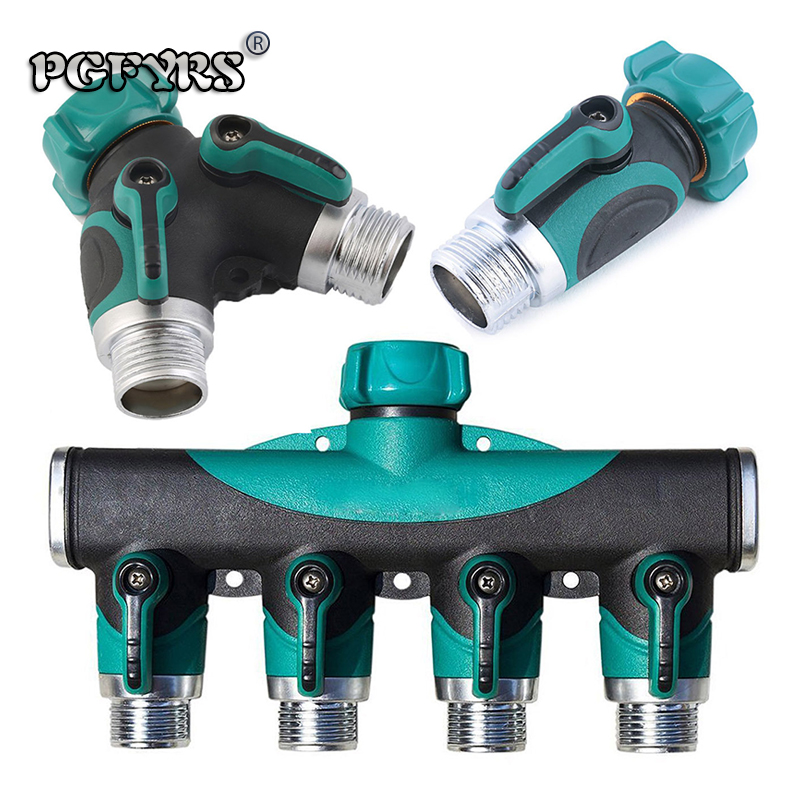 3PCS 3/4 zinc alloy tap valve shunt Outdoor garden lawn watering tools 26mm tube Thread with switch flow control valve new 2019