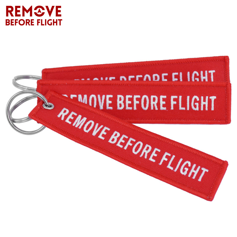 Remove Before Flight Key Chain Chaveiro Red Embroidery Keychain Ring for Aviation Gifts OEM Key Ring Jewelry Luggage Tag Key Fob6