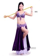 Женский костюм для танца живота, профессиональный костюм для танца живота с бюстгальтером, поясом и атласной юбкой