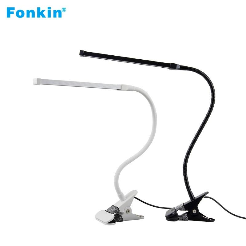 Fonkin Usb LED Clip Bright Table Lamp Dimmable Rechargeable Flexible Gooseneck For Bed Study Desktop Book Light 5V 8W Aluminum