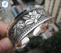 Wholesale 10PCS Hot Fashion Totem Cuff Tibetan Bracelet Beautiful Pisces Tibet Silver Bangle New