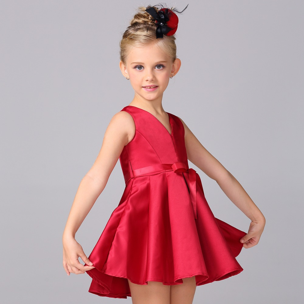 New Style Girl Dark Red Party Dress With Bow flower girl dress princess dress elegant dresses for girls L-99 гарнитура skullcandy ink d with mic dark red s2ikhy 481