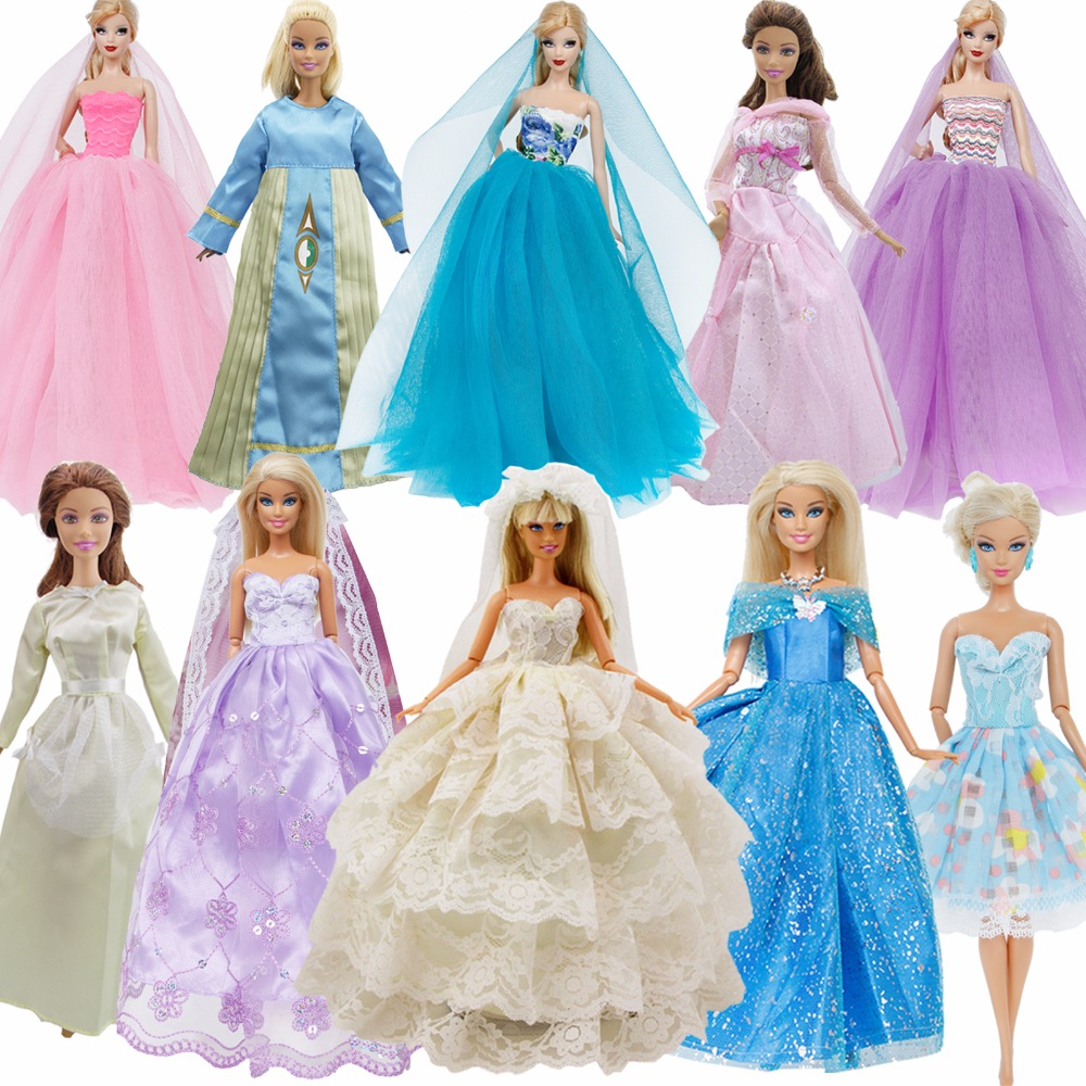 Handmade Wedding Dinner Ball Dress Mix Style Lace Party Gown Accessories Costume Clothes For Barbie Doll Dollhouse Girl's Toys