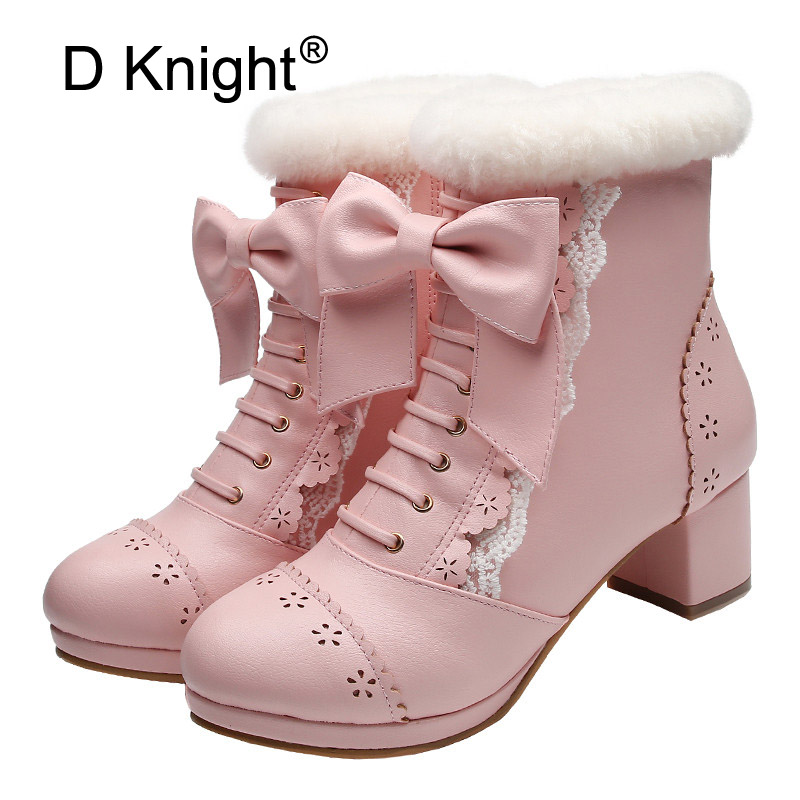 Sweet Japanese Beauty Women Ankle Boots Winter New Lace Bow Snow Boots For Women Side Zip Platform Thick High Heels <font><b>Lolita</b></font> <font><b>Shoes</b></font> image