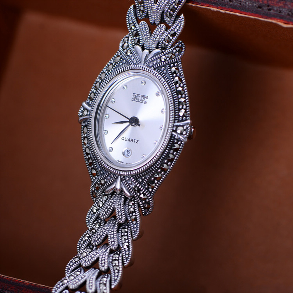 MetJakt Handmade Woven Thai Silver Bracelet Watch with Zircon Solid 925 Sterling Silver Bracelet for Women