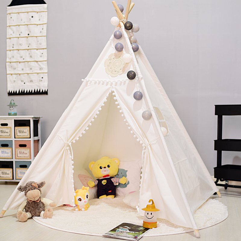 цены 4-Pole Plain White Canvas Vintage Pom Pom Kids Teepee Play Tent Tipi Tent for Kids