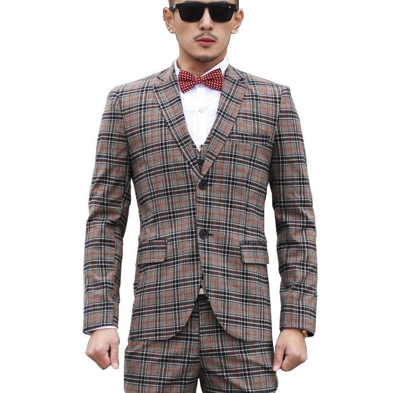 2016 Mens Clothing Gray Plaid Suit 3 Piece Vest Trousers Business Suits Casual Male