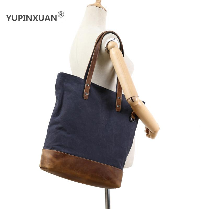 YUPINXUAN Europe Girls Designer Handbags Vintage Canvas Shoulder Bags for Women Large Capacity Female Totes Shopping Tote Big пальто moschino couture пальто в стиле куртки