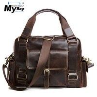 Дизайн черт, портфель Для мужчин из натуральной кожи Портфели сумка для мужчин сумки через плечо 14 ноутбук Бизнес сумка масло воск кожа сум