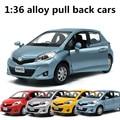 1:36 сплав вытяните назад автомобили, высокая моделирования Toyota Yaris, металлического литья, toy транспорт, музыкальные и мигающий, бесплатная доставка