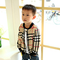 New kids Baseball clothes Boys Jacket Spring Autumn Fashion Brands Plaid O-neck long-sleeved cardigan children outerwear coat