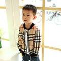 New kids roupas de Beisebol Jaqueta Meninos Primavera Outono Marcas de Moda Xadrez O-pescoço longo-sleeved cardigan crianças outerwear casaco