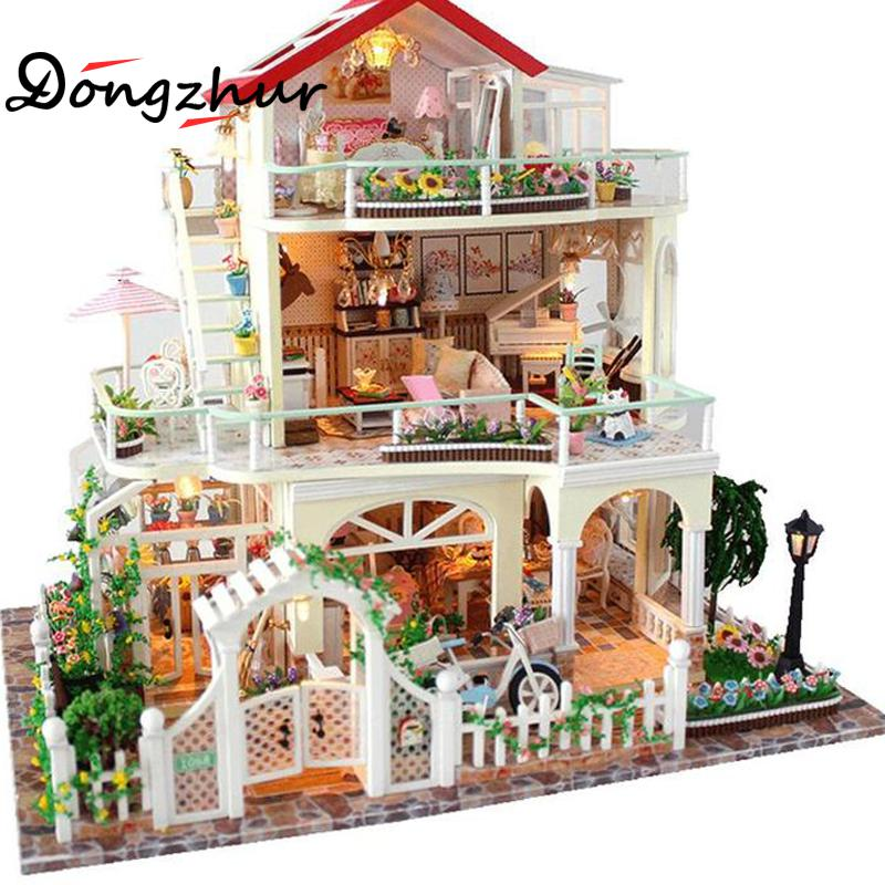 DIY Hut Wooden Doll House Home Decor Dollhouse Led Light Miniature Cottage Furniture Kits Puzzle Toy Birthday Gif Villa Model цена