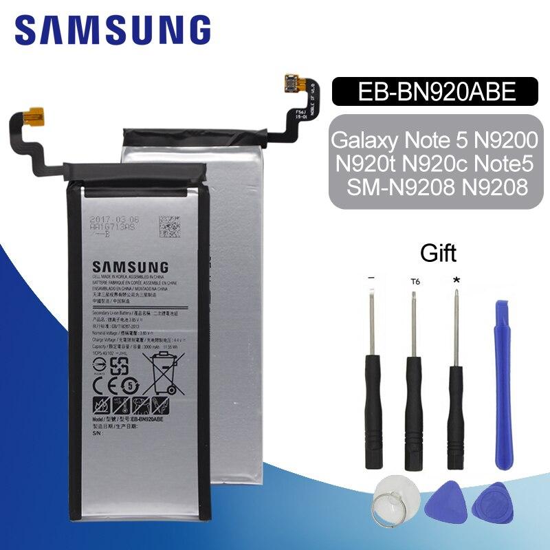SAMSUNG Original Phone Battery 3000mAh EB-BN920ABE For Samsung GALAXY Note 5 N9200 N920c N920t Note5 SM-N9208 N9208 + Tools Kit