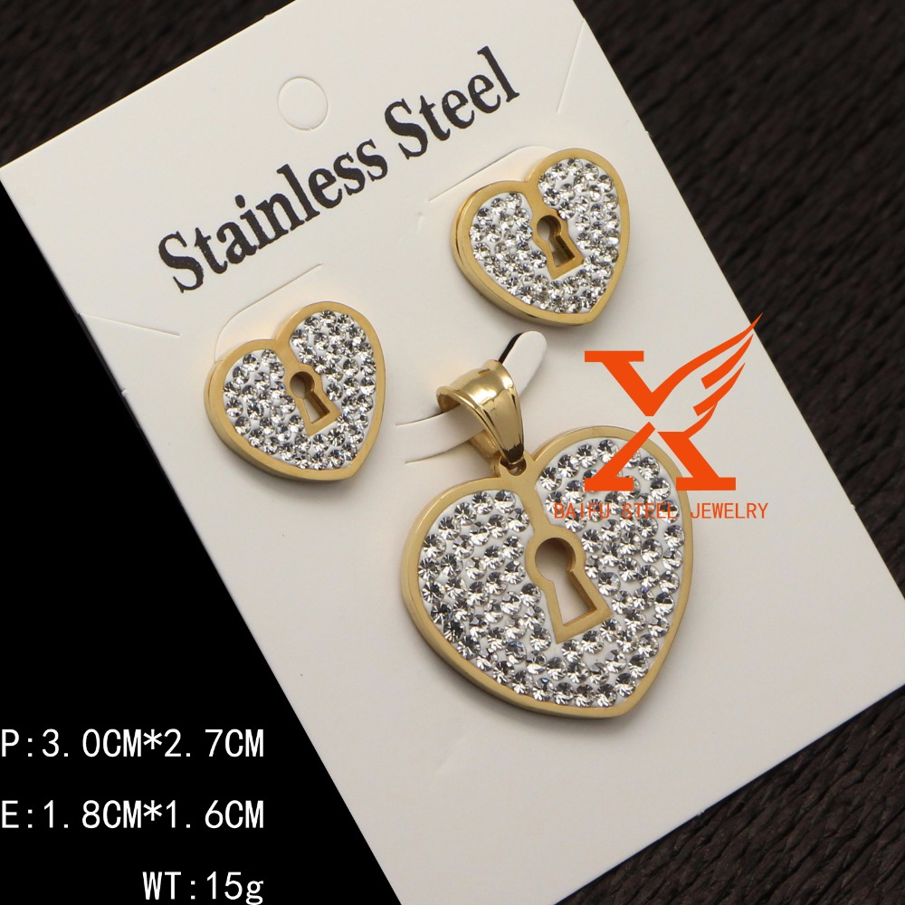 2018 Latest 316L Stainless Steel Key Lock Heart Romantic Wedding Gold Jewelry Sets