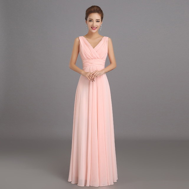 Aliexpress Buy Peachy Pink Bridesmaid Dress Long Chiffon Cheap