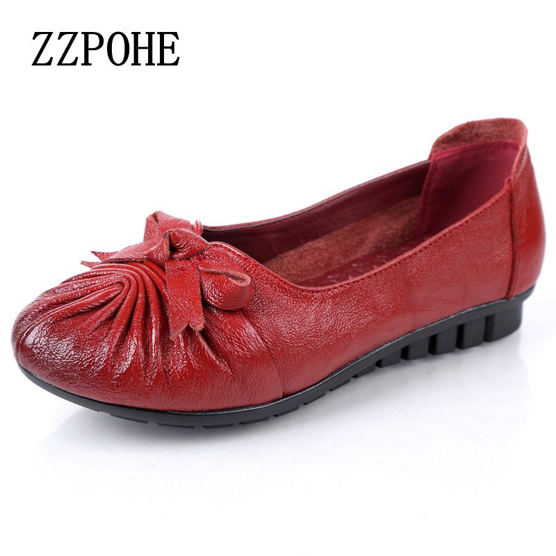 ZZPOHE 2017 spring and autumn new mother shoes soft leather leather solo shoes single women fashion shoes red flat shoes size 40 sgesvier comfortable senior leather fabrics simple and easy red green and four color yellow women flat shoes size 34 41 xt21