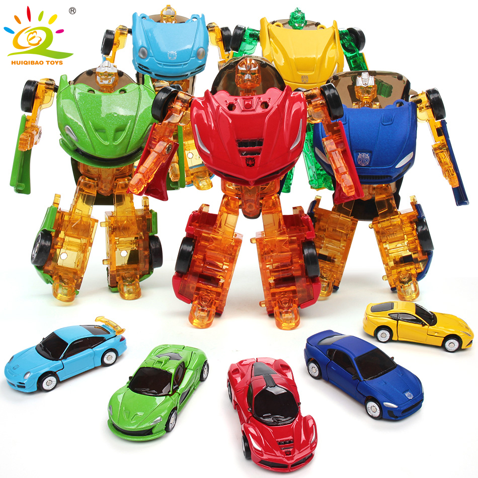 HUIQIBAO TOYS 8cm Mini racing Sports Car Metal Transformation Deformation Robot Action toy Figures Educational Toys for Children