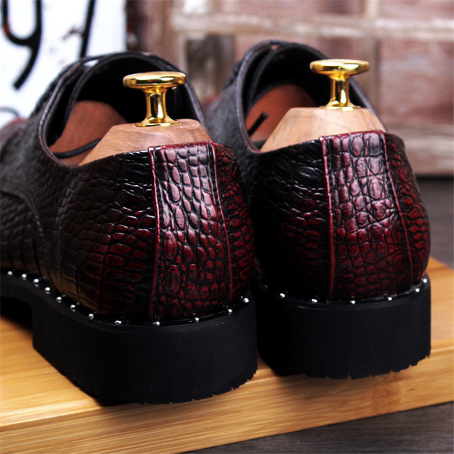 Men's Crocodile Dress Leather Shoes Lace-Up Wedding 4