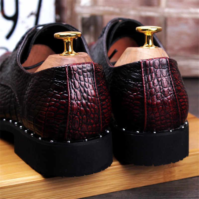 Người đàn ông của Cá Sấu Ăn Mặc Giày Da Ren-Up Wedding Party Giày Mens Văn Phòng Kinh Doanh Oxfords Căn Hộ Cộng Với Kích Thước Người Đàn Ông thời trang
