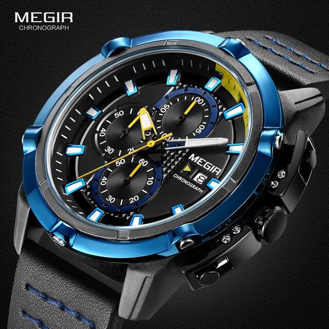 Megir الرجال كرونوغراف التناظرية ساعات كوارتز مضيئة الأيدي 3 ATM مقاوم للماء ساعة اليد للرجل الرياضة ساعة للبنين 2062G