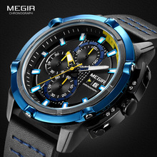 цена Megir Men's Chronograph Analog Quartz Watches Luminous Hands 3 ATM Waterproof Wristwatch for Man Sport Watch for Boys 2062G онлайн в 2017 году