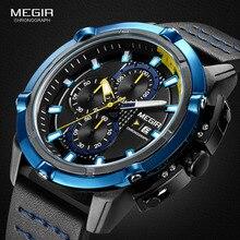Megir herren Chronograph Analog Quarz Uhren Leucht Hände 3 ATM Wasserdicht Armbanduhr für Mann Sport Uhr für Jungen 2062G